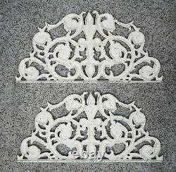 Lot 2 Cast Iron Pediment Wall Art Decor Ornate Distressed Ivory Fleur de Lis 24