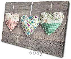Love Hearts Shabby Chic SINGLE CANVAS WALL ART Picture Print VA