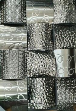 Metal wall art weaved appearance silver modern contemporary home decor