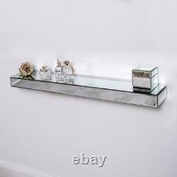 Mirrored Floating Wall Shelf Silver Glass Storage Display Home Unit Home Decor