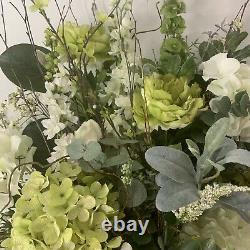 New Farmhouse Hydrangea Green Shabby Chic Cottage Floral Arrangement Wall Wreath