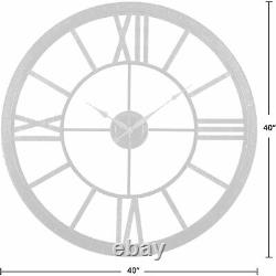 Nice Wall Clock 40 Large Roman Numerals Modern Industrial Antiqued Shabby Chic