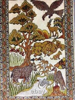 Old Used Handmade Turkish Silk Wall Rug Carpet Shabby Chic, Size2.6 by 1.7 Ft