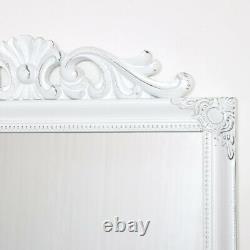 Ornate Vintage White Wall Mirror shabby chic home decor pretty make up bedroom