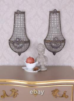 Pair Basket Chandeliers Wall Lights Crystal Shabby Chic Wall Chandelier Antique