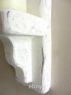 Pair Of 50cm Distressed White Solid Wood Shabby Chic Wall Sconce Candle Holder