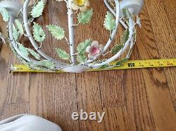 Pair of Large Mid Century Italian Tole Rose Wall Sconce Hand Painted