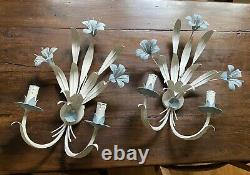 Paris French Metal Toleware Wall Sconce Lights Antique Vintage Shabby Chic 1940s