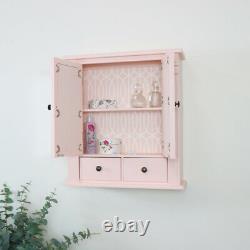 Pink Mirrored Bathroom Wall Cabinet shelving storage vintage shabby chic decor