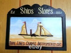 Rare Vintage Wood English Pub Ship Stores1851 wall Picture CROSS SKYLT marine