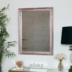 Rose gold pink wall mirror shabby chic living room hall salon boutique display