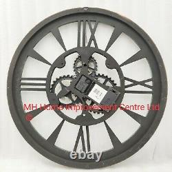 Rustic Brown Large Antique Style Wall Clock Shabby Chic Movings Cogs skeleton