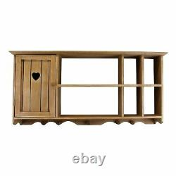Rustic Wooden Wall Unit Shelf Storage Cupboard Cabinet Shabby Chic Shelves Heart