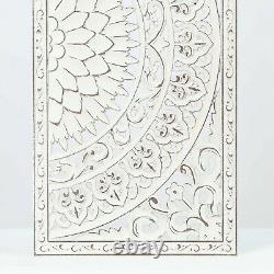 Set of 2 Carved Floral Medallion Wall Art Sculpture Panels Distressed White Boho