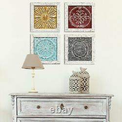 Set of 4 Distressed Medallion Metal and Wood Framed Wall Art