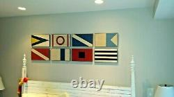 Set of 8 Pottery Barn Wooden Marine Mahogany Plaques Wall Art Nautical NICE