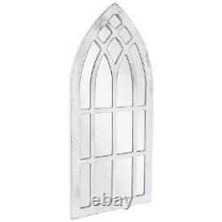 Shabby Chic Distressed White Wood Cathedral Style Wall Mirror