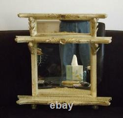 Shabby Chic French Wall Shelf Wood Mirrored 21 Tall 20 Wide Antique Finish