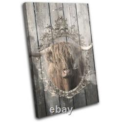 Shabby Chic Highland Cow Animals SINGLE CANVAS WALL ART Picture Print
