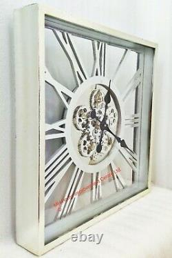 Shabby Chic Large Square Retro Wall Clock Movings Cogs skeleton Antique Silver