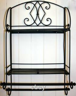Shabby Chic Metal Double Wall Shelf Unit Rack Towel Rail Black French Vintage