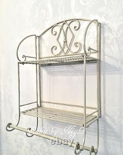 Shabby Chic Metal Double Wall Shelf Unit Rack Towel Rail Cream French Vintage