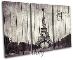 Shabby Chic Paris Eiffel City TREBLE CANVAS WALL ART Picture Print