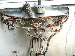 Shabby Chic Vintage Demi-lune Galleried Wall Hung Garden Table