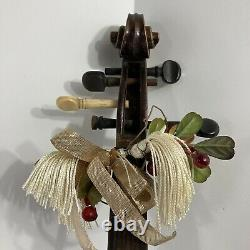 Shabby Chic Violin Viola Hand Painted Pear Wall Art Musical Instrument Antique