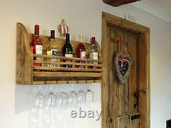 Shabby Chic Wax Finished Wooden Wine Rack Holder Wall Mounted Hand Made