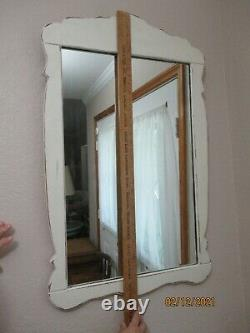 Shabby Chic White Mirror 34.5 Tall x 21.5 Wide Mirror is 27 Tall x 17.5 Wide