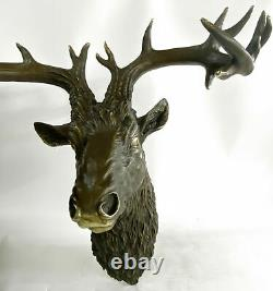 Shabby Country Cabin Decor Chic Detailed bronze Wall Mounted Stags Head Big Art