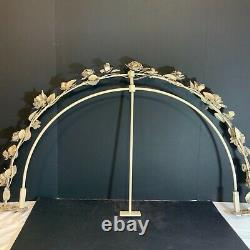 Shabby Rose Floral Tole Metal Wall Teester Bed Crown Canopy French Cottage Chic