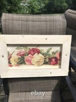 Shabby Vintage Cottage De Longpre PINK Roses chic Wall Hanging