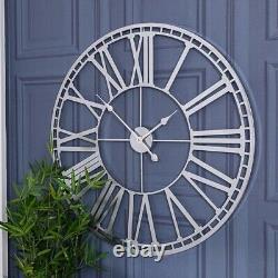 Silver Round Skeleton Clock Wall Metal Roman Numerals Hallway Kitchen Chic Home