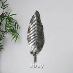 Silver leaf wall mounted candle sconce holder shabby chic vintage home decor