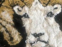 Soft Vintage 1970s Rug Wall Hanging Ram Mountain Goat 65 X 4 Vibrant Colours