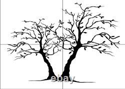 TWO TREES BIG SIZES Reusable Stencil Wall Decor Romantic Shabby Chic Art / T3