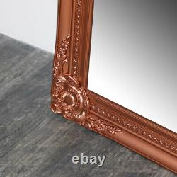 Tall Copper wall leaner mirror shabby vintage chic ornate living room bedroom