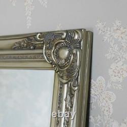 Tall slim champagne silver wall leaner mirror shabby vintage chic ornate hallway
