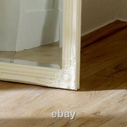 Tall slim cream wall mirror shabby vintage chic French ornate bedroom hallway