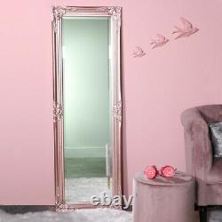 Tall slim rose pink wall mirror shabby vintage chic French ornate bedroom hall