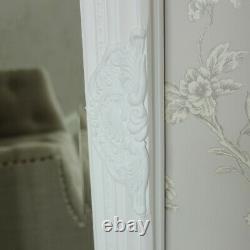 Tall slim white wall mirror shabby vintage chic French ornate bedroom hallway