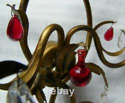 VINTAGE 60s ITALIAN GILT TOLE PAIR WALL SCONCE LIGHT RED DROPS PRISM SHABBY CHIC
