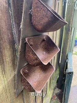 VINTAGE rustic FARM ELEVATOR GRAIN SCOOPS tin buckets rural wall planter storage