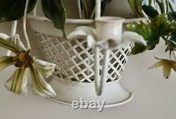 VTG Italian Tole Painted Wall Sconce 3 Candle Floral White Basket 19.5 x17