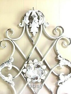 VTG Metal Wall Décor 38x25 Shabby Cottage Rustic Chic Garden Scrolled Floral