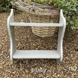Vintage Country Wall Mounted Grey Painted Shabby Chic Small 2 Tier Shelf