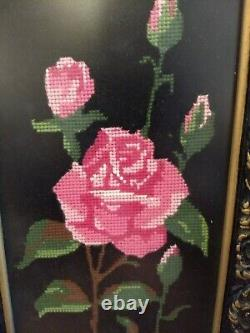 Vintage Needlepoint Pink Roses on Black Tapestry Framed Wall Art Shabby Chic Set