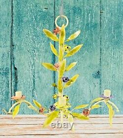 Vintage Shabby Chic Candle Holder Italian Tole Metal Flower Leaf Wall Sconce